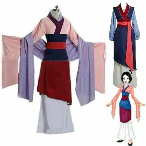 Cosplay Hua Mulan Dress Princess Pink /& Red Costume Adult Fancy Dress Halloween
