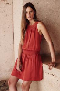 NWT JOIE  SONJA  SLEEVELESS 100% SILK DRESS, BURNT pink orange SZ L
