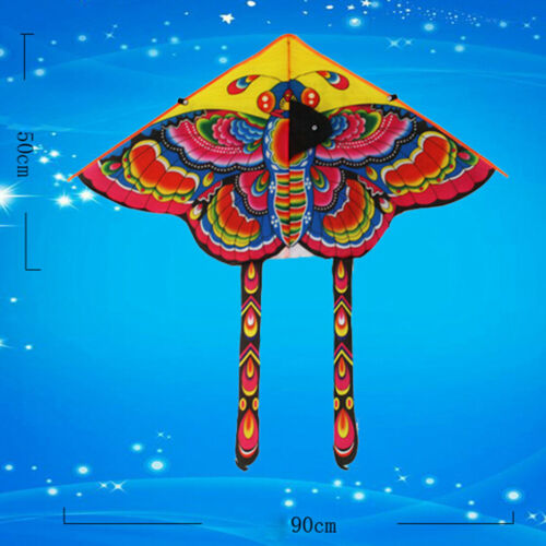 1Set 90*50cm butterfly printed long tail kite outdoor kite toy with handle li Be