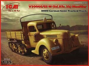 ICM-1-35-V3000S-Ss-M-Sd-Kfz-3b-Maultier-WWII-Allemand-Semi-Tracked-Camion