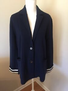 7c9aa3d8cbd44 J CREW NWT MERINO WOOL SWEATER WITH STRIPED LINING SIZE L COLOR NAVY ...