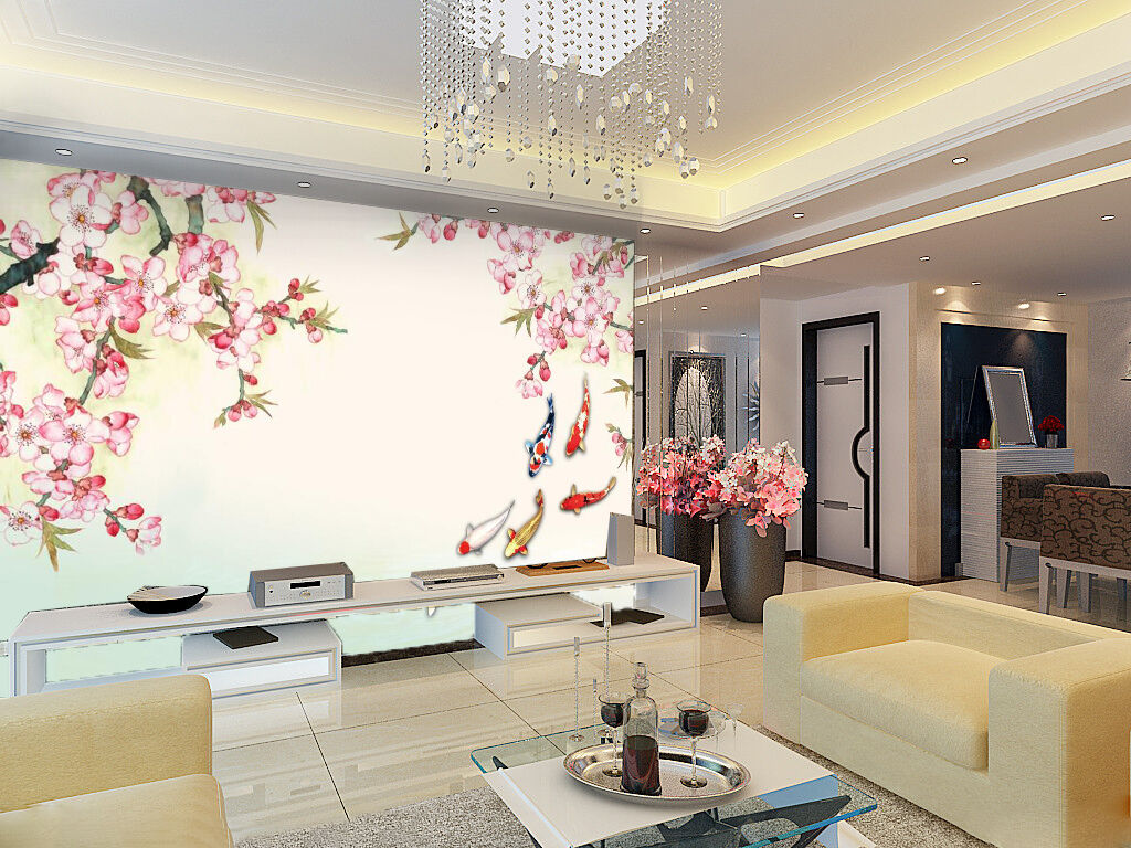3D Azalées Fleur 4 Photo Papier Peint en Autocollant Murale Plafond Chambre Art