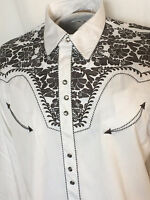 Scully Mens Retro Gunfighter Gray Embroidered Tooled On White Western Shirt Med.