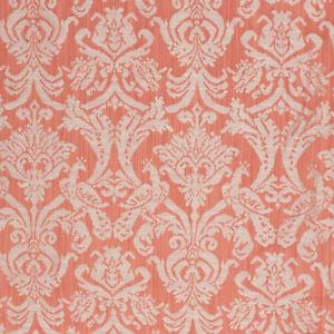 Coral-Orange-Fabric-Damask-Brocade-Pattern-Upholstery-Drapery-Renaissance-IL9
