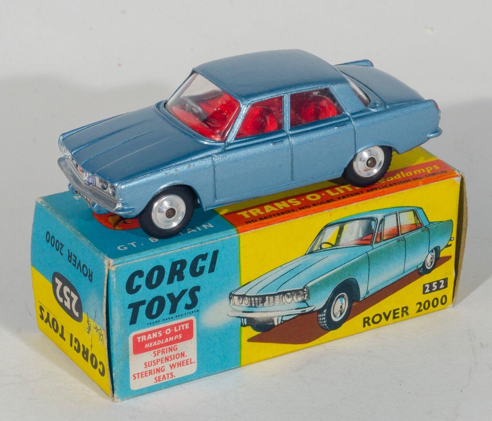 Corgi 252 Rover 2000. Metallic Steel bluee. Boxed Original 1960's