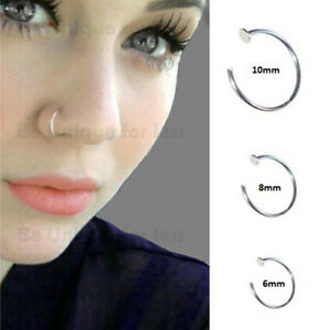 Sterling Silver 925 Thin Small Silver Open Nose Ring Hoop 0 6mm