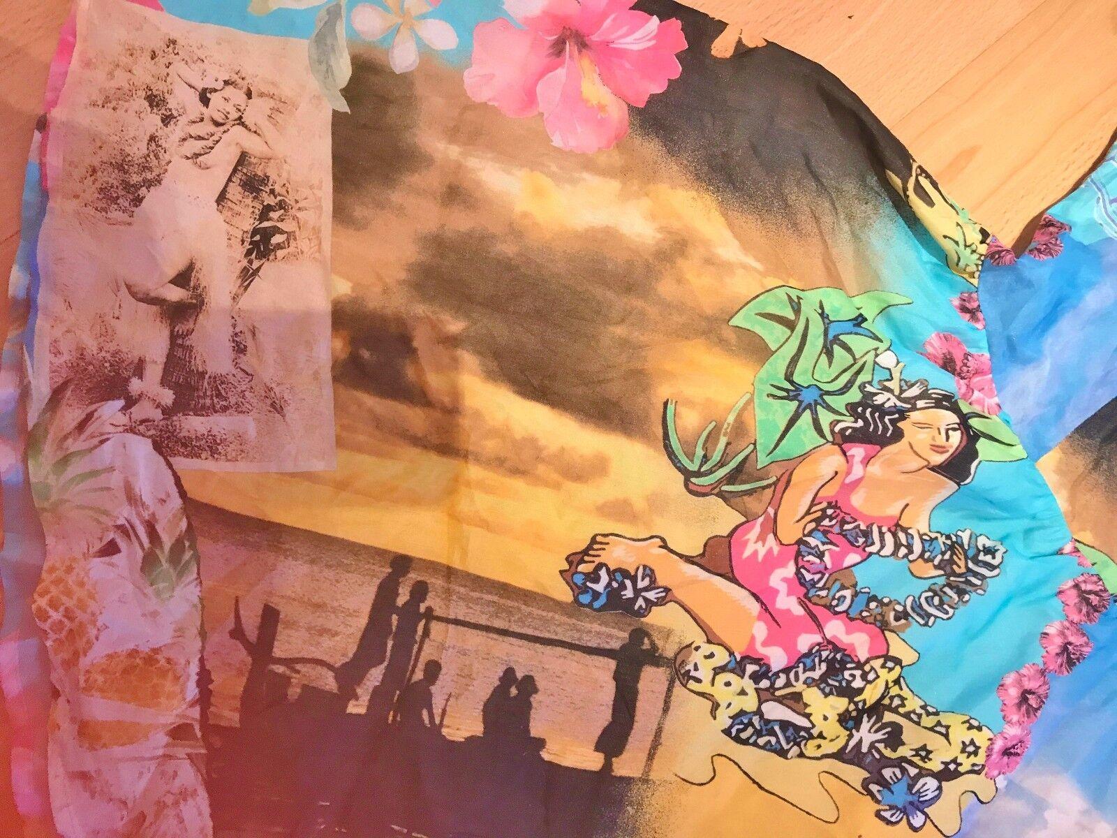 Silk summer mini dress with Hawaiian Girl, Hula Dancer Dancer Dancer design for Hula dance 7b13e8