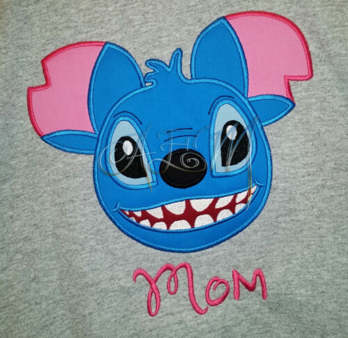Personalized Stitch Minnie Mouse White Shirt machine embroidered