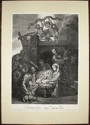 Stampa antica old print Adorazione Pastori Natività Nativity 1860 Domenichino
