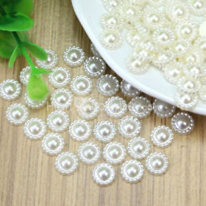 100-Pcs-Stunning-Ivory-Plastic-Pearl-Flower-Beads-Wedding-Cards-Embellishments