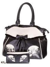 Banned Skull Roses Gothic Faux Leather Shoulder Bag Handbag & Wallet Set Black
