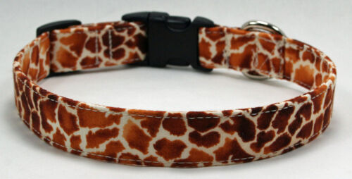Animal Print Giraffe Dog Collar Adjustable Handmade Custom Designer