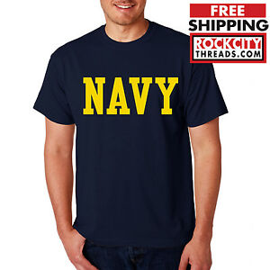 NAVY-BLOCK-T-SHIRT-GOLD-Military-Shirt-Blend-Seal-US-U-S-NAVY-USNAVY-USA-Tshirt
