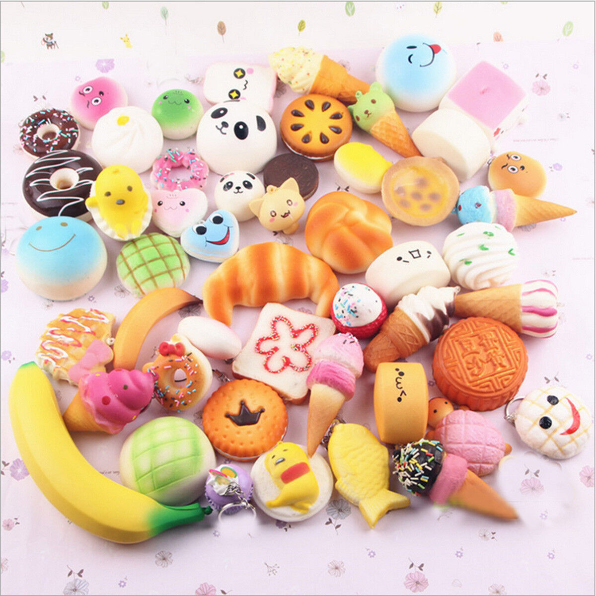 Squishy Mini Bun : 20Pcs Jumbo Medium Mini Random Squishy Soft Panda Bread Cake Buns Phone Straps