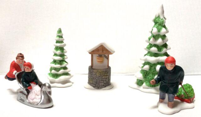 Dept 56 Heritage Village New England Winter Accessory Set Trees Figures Sledding