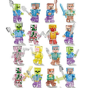 16Pcs Minecraft My World Series Mini Figures Characters Building Blocks Fit Lego