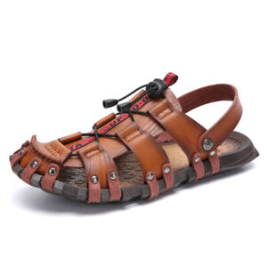 Men-039-s-Outdoor-Closed-Toe-Hiking-Shoes-Leather-Sandals-Summer-Camping-Fisherman