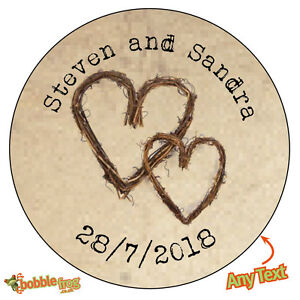 TWIG HEARTS Personalised Wedding Shabby Brown Kraft Effect Favour Stickers 488