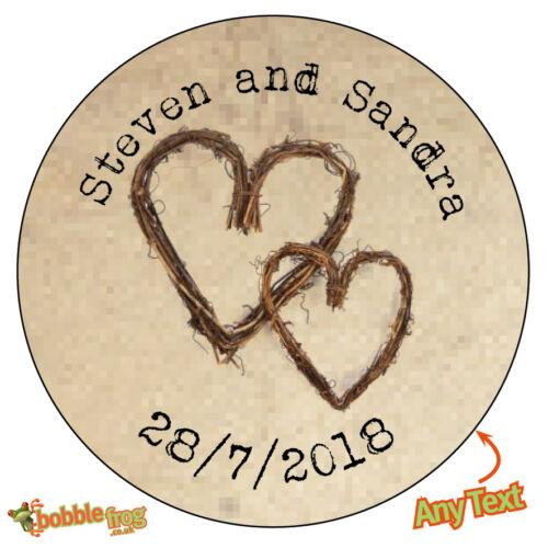 Twig cœur personnalisé mariage shabby marron kraft effet faveur autocollants 488