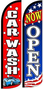 Car Wash Now Open Windless Standard Size Swooper Flag Sign ...