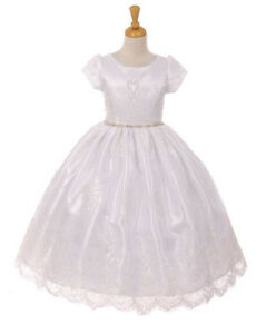 Flower Girls White First Communion Dress Lace Tulle Wedding Party Easter Fancy