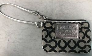 a2e95d5b Details about Coach Poppy Wallet Wristlet Black And Silver Zip Up C Pattern