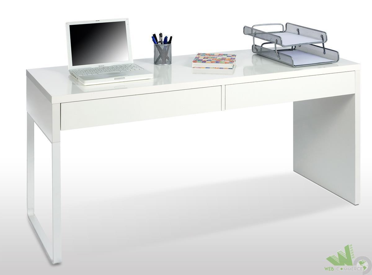 Scrivania Con Cassettiera Ikea scrivania porta computer reversibile cm.138x50x75h bianco lucido con 2  cassetti