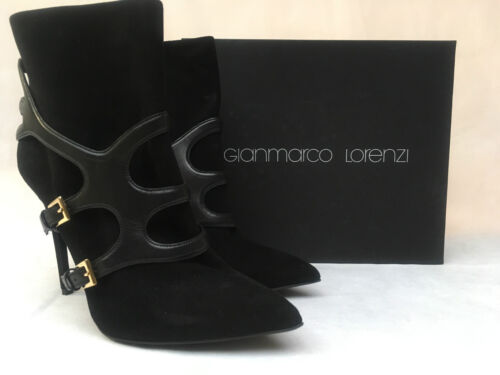 Gianmarco Lorenzi Suede Black Ankle Boot Heels  A6D9A3603  Various Sizes  RRP £4