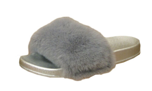 LADIES FAUX FUR SLIDERS WOMENS FURRY FLUFFY SLIPPERS FLIP FLOP SHOES SIZE