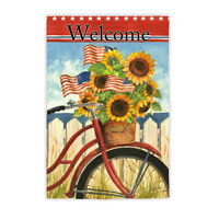 Patriotic Summer Ride Stars N Stripes Welcome 2 Sided Large Banner Flag 29x43