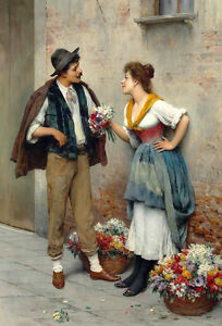 Oil-painting-Eugen-von-Blaas-The-flower-seller-young-woman-and-man-in-street