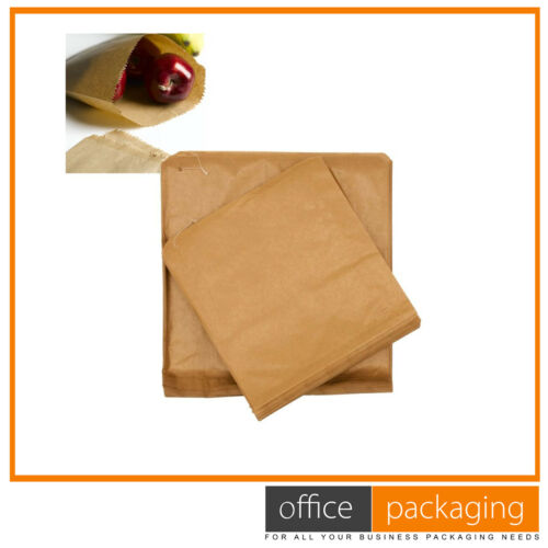 "Brown Strung Kraft Paper Fruit Veg Stall Paper Food Bags 8.5/""x8.5/"""