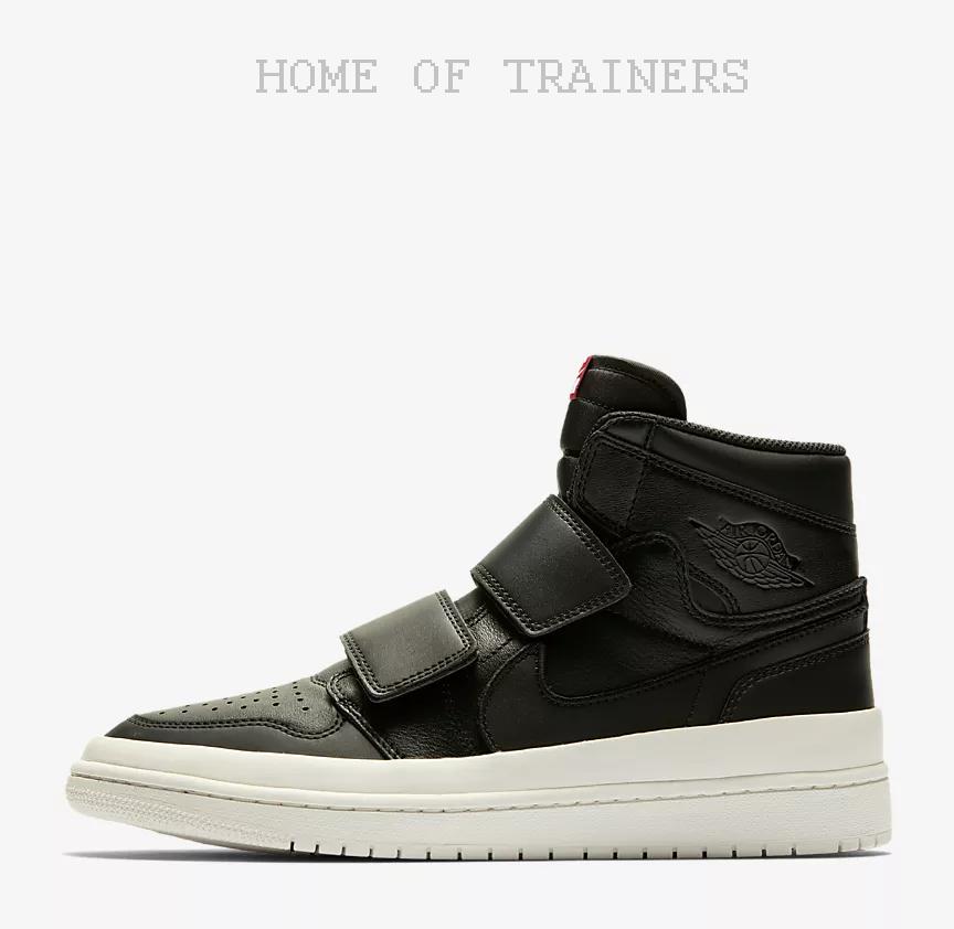Nike Air Jordan 1 Retro Hoch Doppelriemen Herren Schwarz Segel Turnhalle Rot Herren Doppelriemen d67870