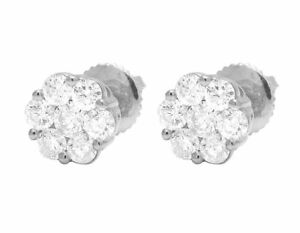 14K-White-Gold-Flower-Cluster-Natural-Diamond-Screw-Back-Stud-Earrings-0-25Ct