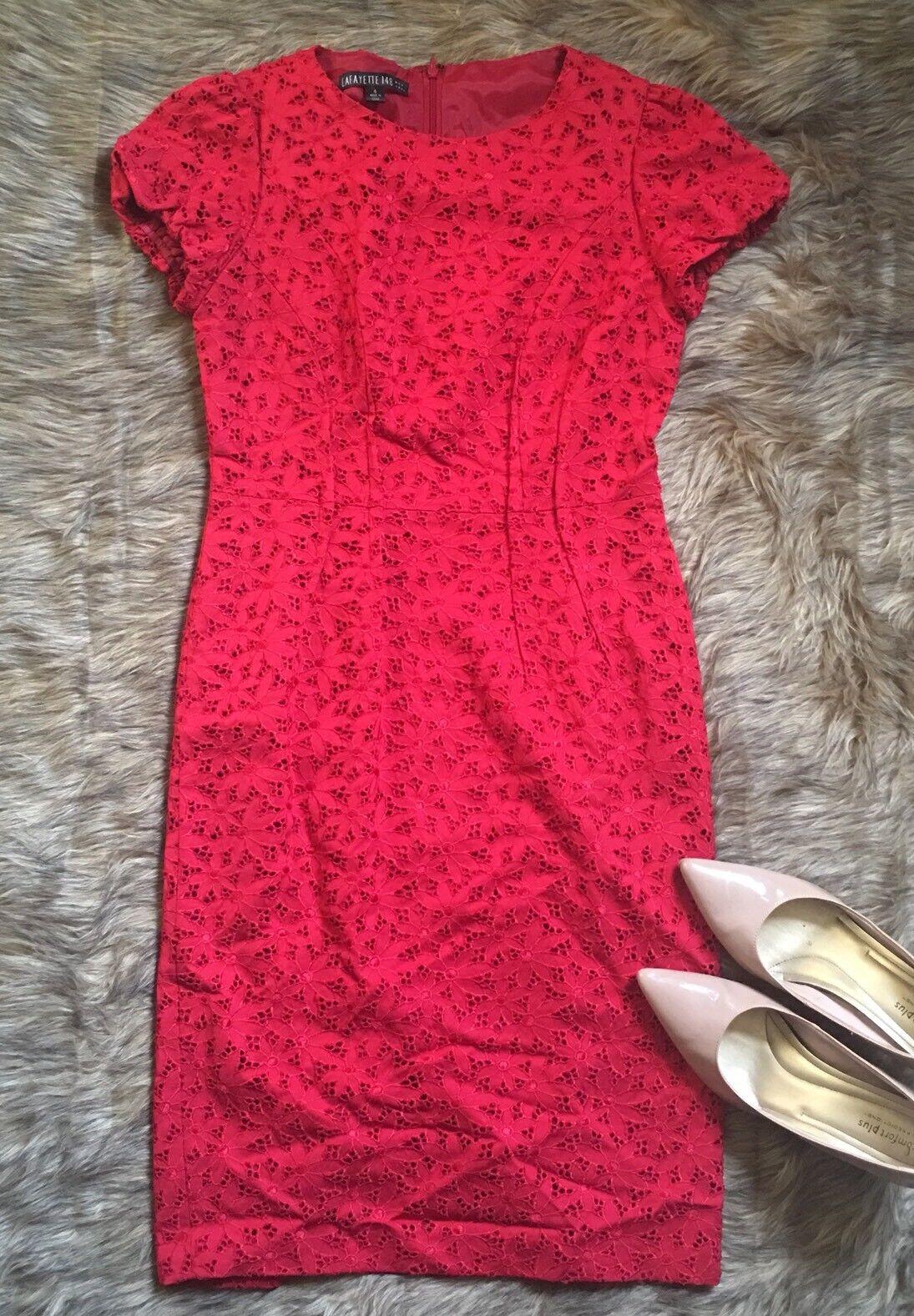 Lafayette 148 Women's Shift Dress Red Lace Wool Blend Cap Sleeve Size 4