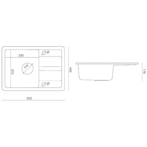 VBChome Spülbecken 62x44 GRANIT Küche gesprenkelt Armatur schwarz beige grau