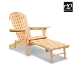 RETURNs Gardeon Outdoor Sun Lounge Beach Chairs Patio Furniture Wooden Adirondac