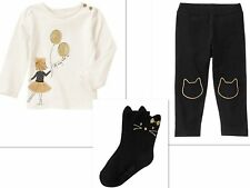 GYMBOREE CITY KITTY CAT  GIRLS PANTS OUTFIT WITH SOCKS NWT 2T