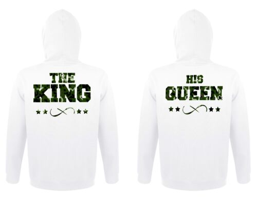 """Uomo Donna Hoodie Pullover Set /""""The King /& his Queen/"""" in MIMETICO Partner"""