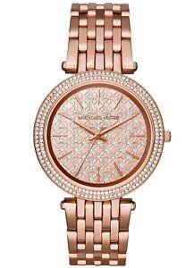 2018-New-Michael-Kors-Darci-Rose-Gold-Monogram-Dial-MK3399-Women-039-s-Glitz-Watch