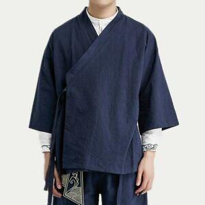 Men Cotton Linen Kimono Cardigan Retro Chinese Jacket Coat Yukata Haori Top Chic
