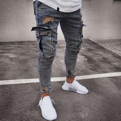 Men/'s Jeans Ripped Distresseed Denim Pants Cargo Slim Fit Skinny Biker Trousers