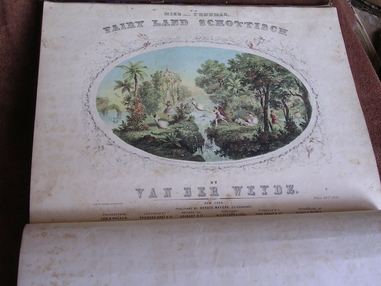 53 1840s-1850s Sheet Music Songs/Bound Volume/Patriotic/Hand-Tinted/Military etc