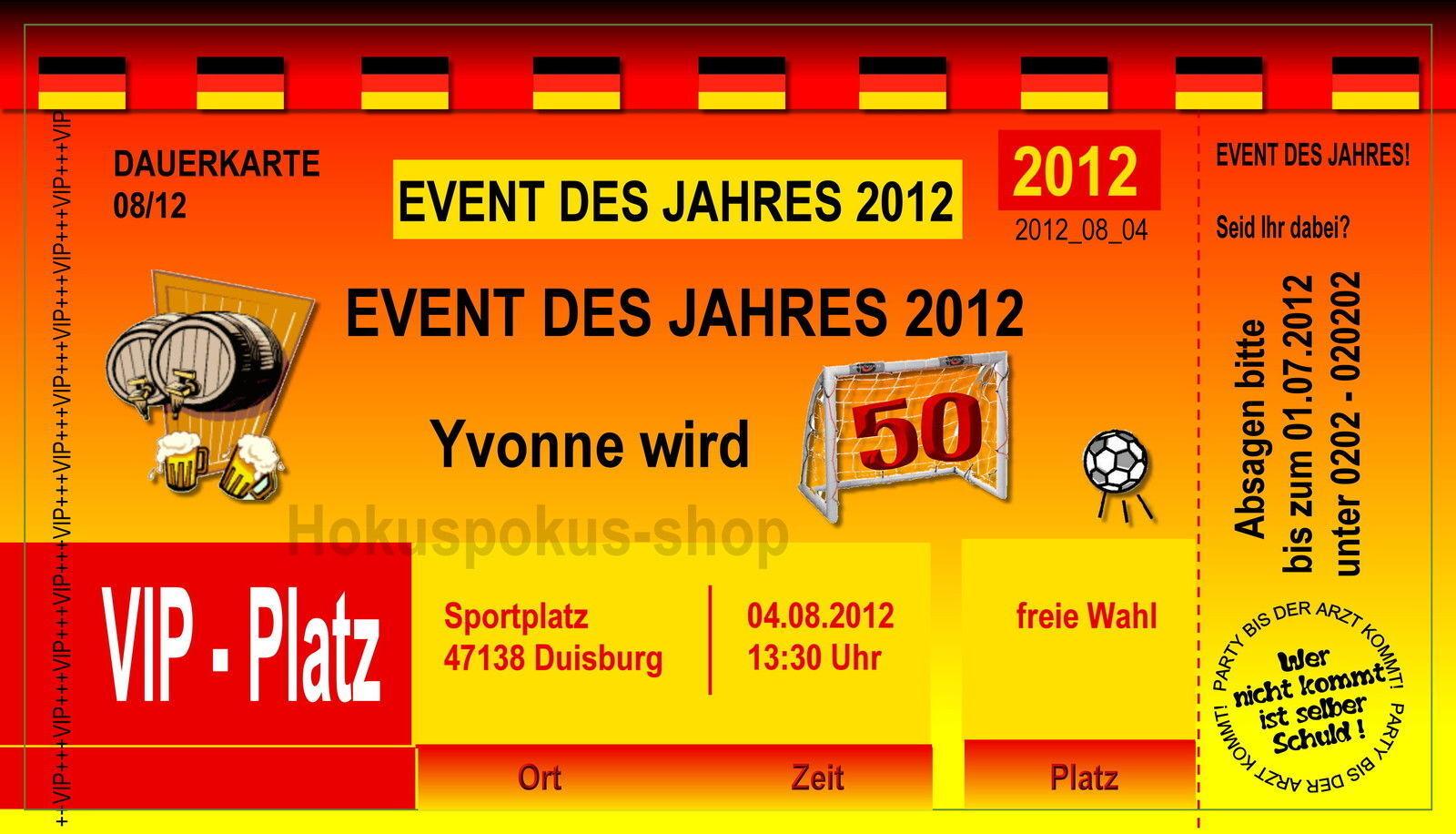 50 Einladungskarte Geburtstag Eintrittskarte Fußball jedes Alter 40 30 60 18 70