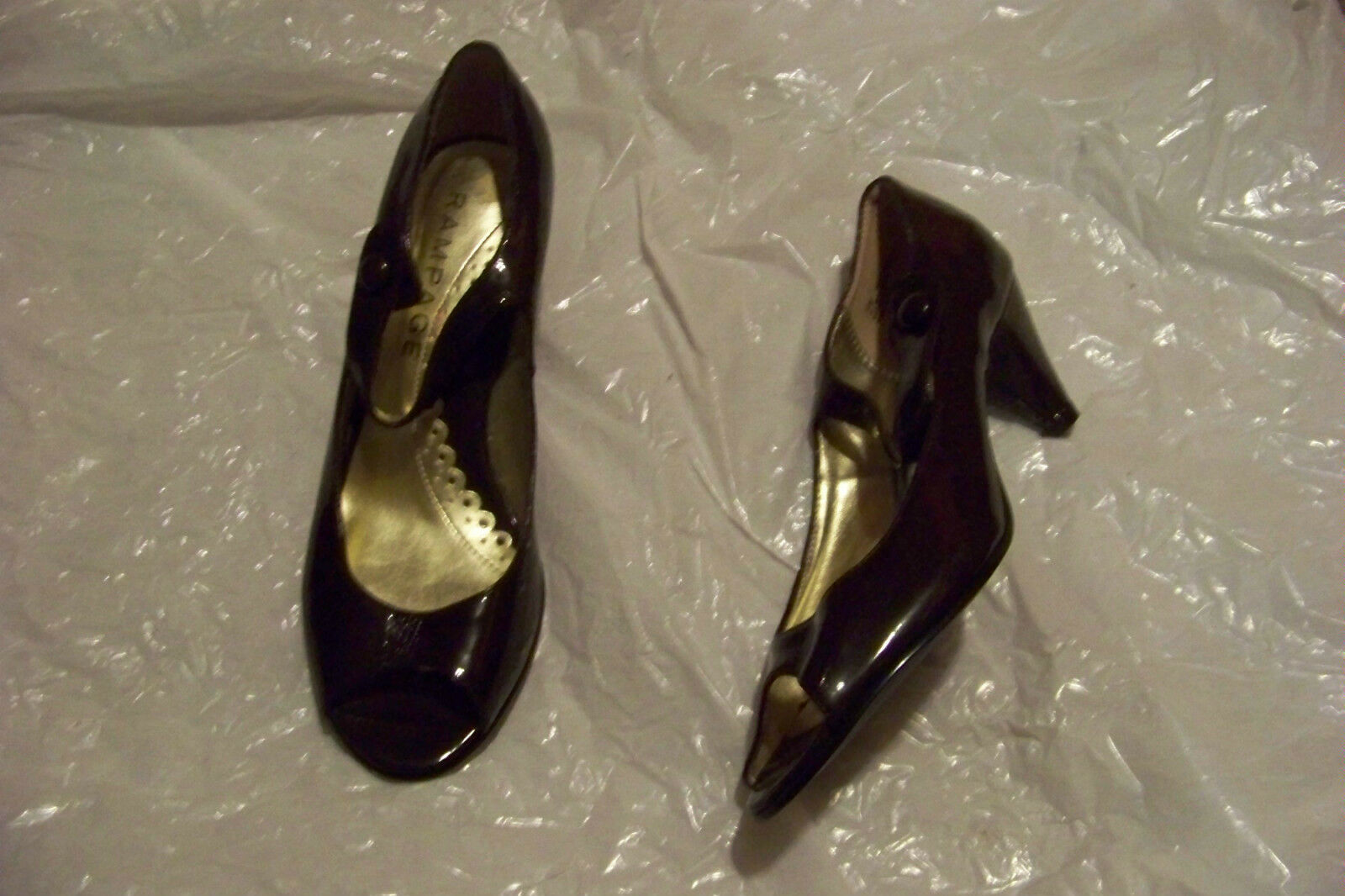 womens rampage hollywood brown patent heels open toe mary jane heels patent shoes size 6 b7aab2