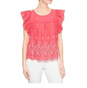 9fcd3e0b015781 Image is loading Gap-Eyelet-Embroidery-Flutter-Sleeve-Top-Rosehip-Color