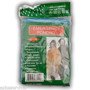 Lot-of-2-Blue-Emergency-Hooded-Survival-Poncho-for-Kits