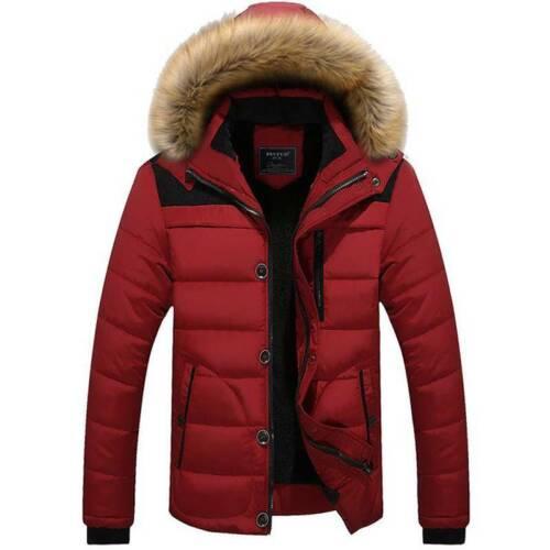 UK Men Fleece Fur Hoodie Warm Parka Outerwear Overcoat Puffer Winter Jacket Coat