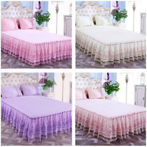 Princess-Bed-Skirt-Pillowcase-Lace-Bedspread-Dust-Ruffle-Bedding-Queen-King-Size