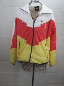 Money-Clothing-Men-039-s-White-Red-Yellow-Zip-Up-Windbreaker-Jacket-Size-L-Large